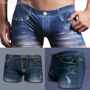 375ab64a06 Das Bild wird geladen Herren -Sexy-Baumwolle-Unterhose-Shorts-Denim-Jeans-Unterwaesche-