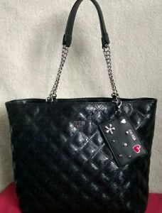 GUESS-Womens-Shopping-Shoulder-Bag-HandBag-Tote-Satchel-Large-Black-Quilted-New