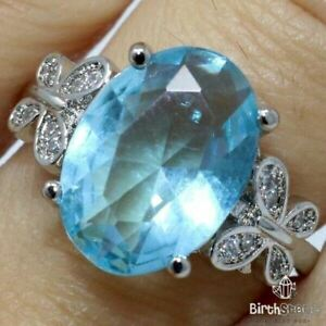 4Ct-Oval-Blue-Aquamarine-CZ-Butterfly-Ring-Women-Jewelry-14K-White-Gold-Plated