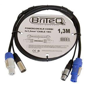 Briteq Neutrik Kombikabel 1,3m Licht + PA Strom & DMX PowerCon XLR PA NEU