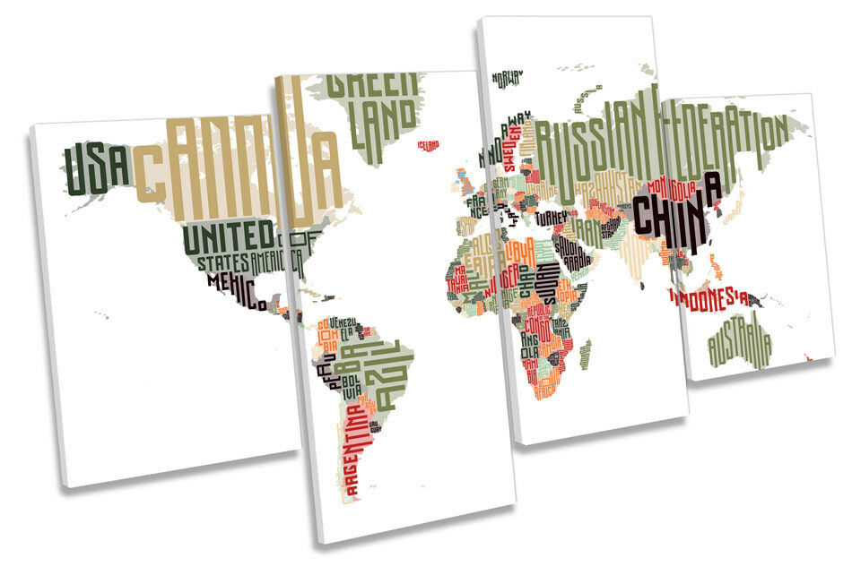 World Map Typography MULTI CANVAS WALL WALL WALL ART Framed Panel 3789d8