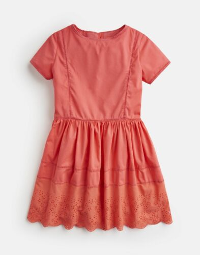 Joules Girls Lisette Broderie Dress 3 12 Yr in BRIGHT CORAL