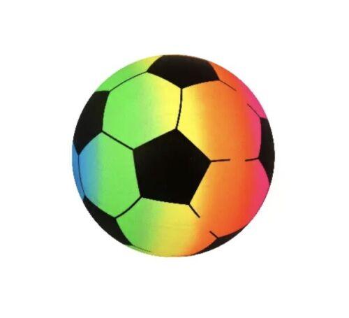 1x Multicolour rainbow Pvc football beach ball inflatable soft Kids Soccer Sport