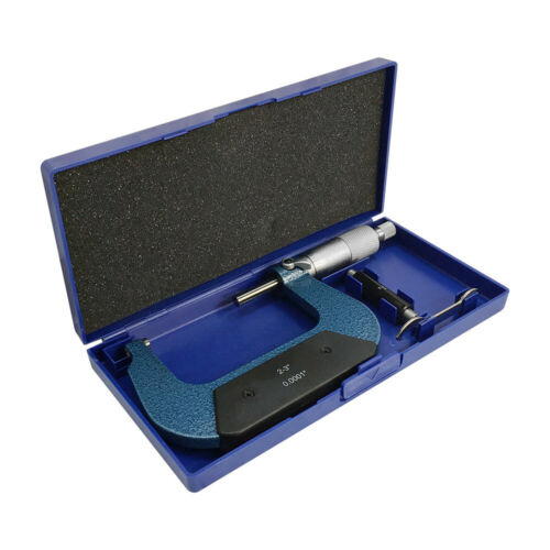 "2/""x2-3/'/' Outside Micrometer Solid Metal Frame 0.0001/'/' Graduation W Case Ratchet"