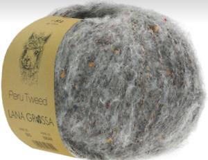 Le Pérou Tweed 50 G Lana Grossa fine Alpaga avec tweedoptik FB 004 Gris