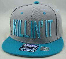 """NEW """"KILLIN IT"""" 3D EMBROIDERY FLAT BILL SNAPBACK CAP HIPHOP HAT GRAY/AQUA"""