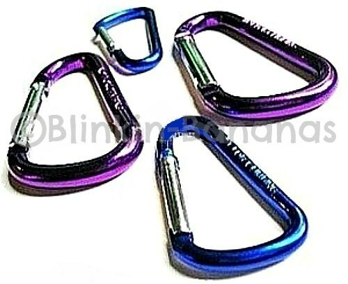 SET OF 4 METAL CARABINER CARABINA SPRING LINK D SHAPED CAMPING CLIPS SNAP HOOKS