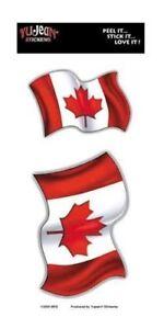 Wavy-Canadian-Flag-Car-Hard-Hat-Sticker-Decal-2-Flags-per-Card