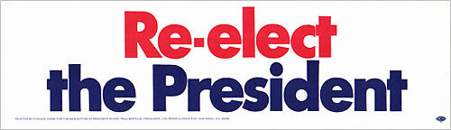 4175 Official 1972 Richard Nixon RE-ELECT THE PRESIDENT Bumper Sticker