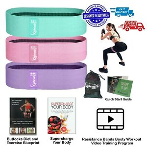 Resistance Booty Band Set of 3 Hip Circle Bands with Bag eBooks & workout Video