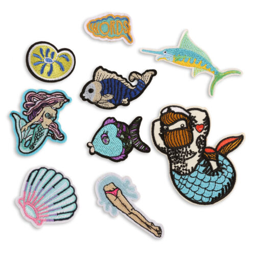 Mermaid Embroidery Sew Iron On Patch Badge Bag Clothes Fabric Applique Patch TB