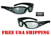 Global Vision Marilyn Foam Padded Riding Glasses W/ Rhinestone Ladies Sunglasses