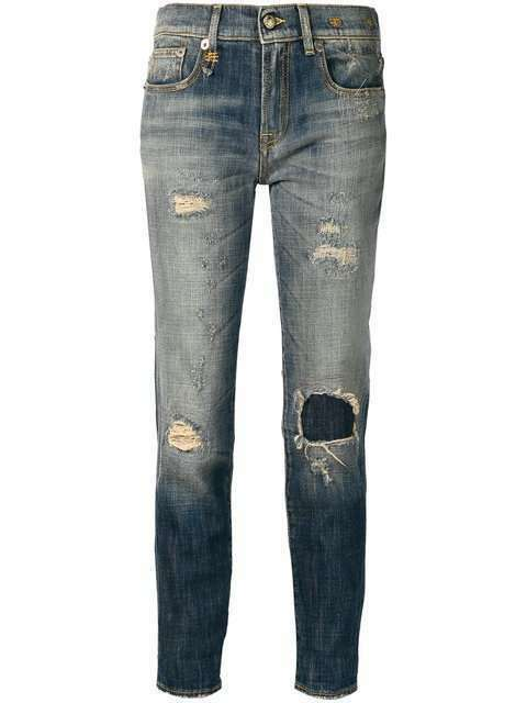 R13 WOMENS JEANS RELAXED SKINNY blueE SHREDDED MADE IN ITALY SIZE 27 NEW