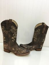 Circle G By Corral Ladies Sand Brown Floral Embroidered Boots L5467