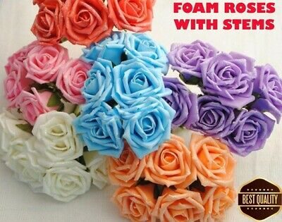 6 x Baby Blue Colourfast Foam Cottage ouvert roses 6 cm