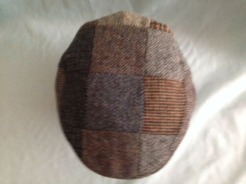 MENS QUALITY SCOTTISH PURE WOOL HARRIS TWEED PATCH WORK FLAT CAP FROM SCOTLAND
