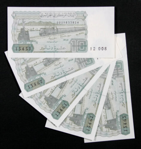 SET LOT of 5 Banknotes UNC 1 10 Dinars 1983 P132a P 132a 1 ALGERIA