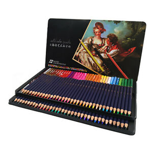 72-Watercolour-Pencils-With-Brush-in-Metal-Box-Watercolor-Painting-Pencils