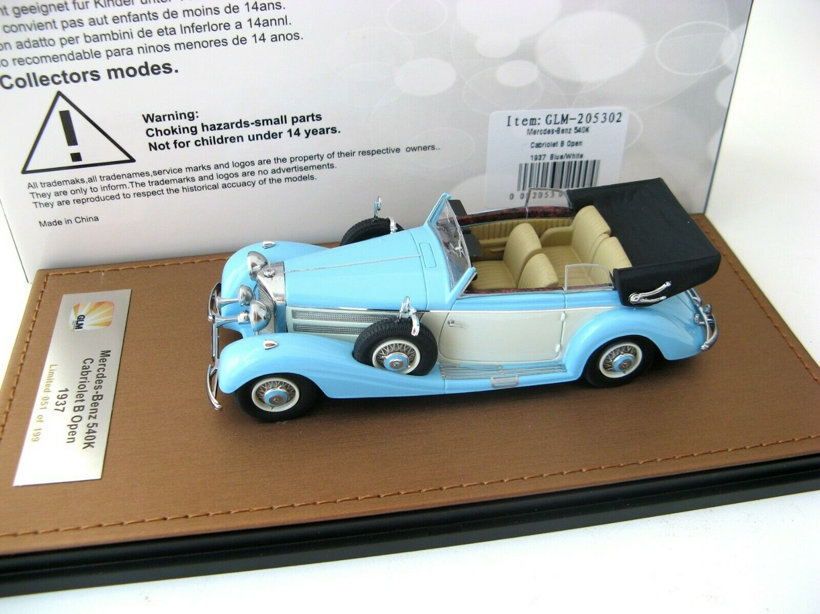 Mercedes-Benz 540K Cabriolet B öppnar 1937 blå vit Lim.199 pcs. 1 43 GLM RARE