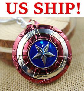 US-The-Avengers-Captain-America-Shield-Keyring-Rotatable-Star-Alloy-Keychain