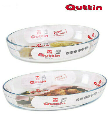 QUTTIN Glass Oven Roasting Baking Lasagne TRAY OVAL DISH 35X24CM 3.4L