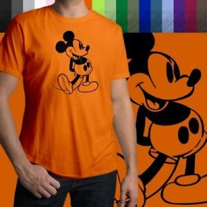 Retro-Classic-Vintage-Mickey-Mouse-Walt-Disney-Mens-Crew-Neck-Tee-Unisex-T-Shirt