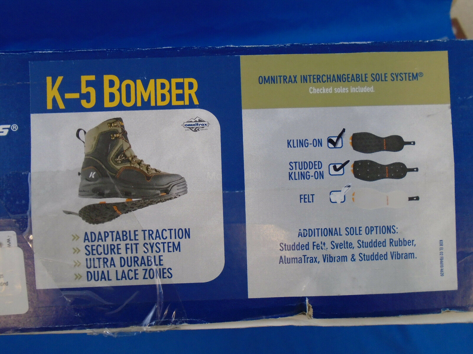Korkers K-5 Bomber with Cling On & Studded Soles Size 8