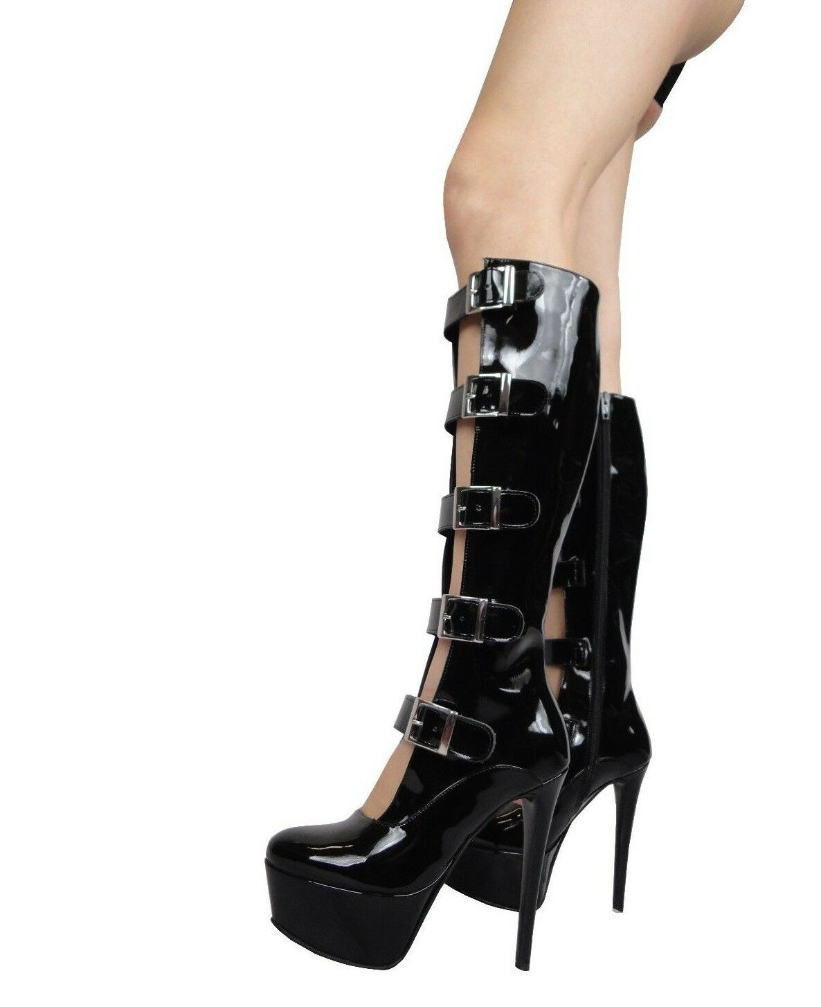 GIOHEL 5CM PLATFORM KNEE HIGH BOOTS STIEFEL BOOTS BOOTS BOOTS SILVER BUCKLES BLACK BLACK 35 877bdd