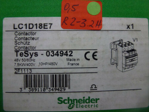 Schneider Electric LC1D18E7 TeSys 034942 Spulenspannung 48V unbenutzt in OVP