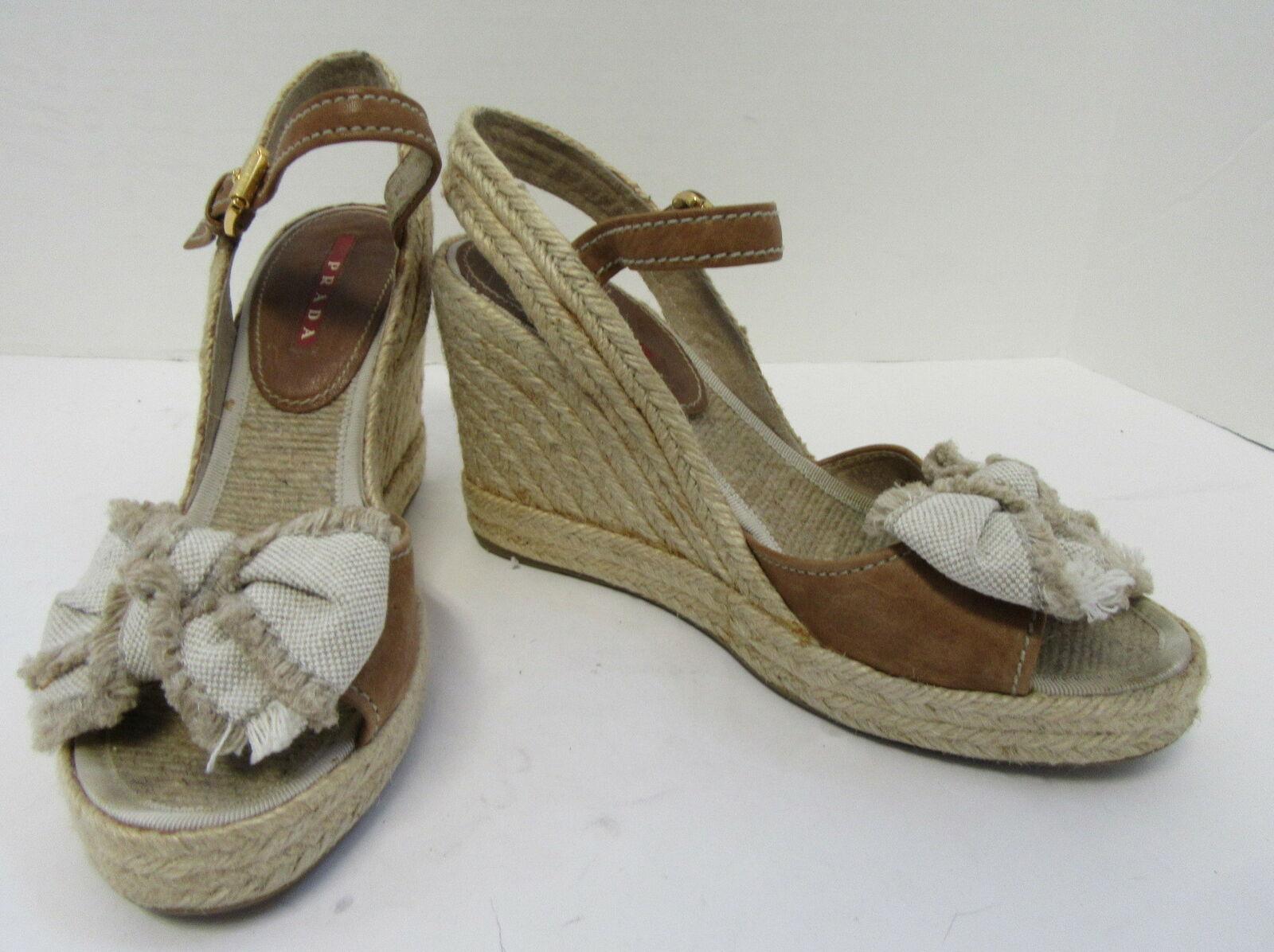 PRADA Camel Ankle Strap Espadrille Wedges with Burlap Fringe Bow Size 38
