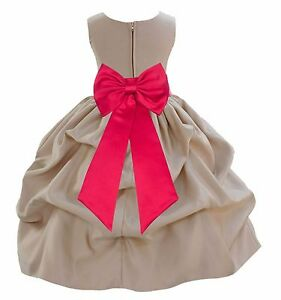 CHAMPAGNE-FLOWER-GIRL-DRESS-PAGEANT-WEDDING-BRIDAL-BRIDESMAID-FORMAL-BRIDE-CHILD