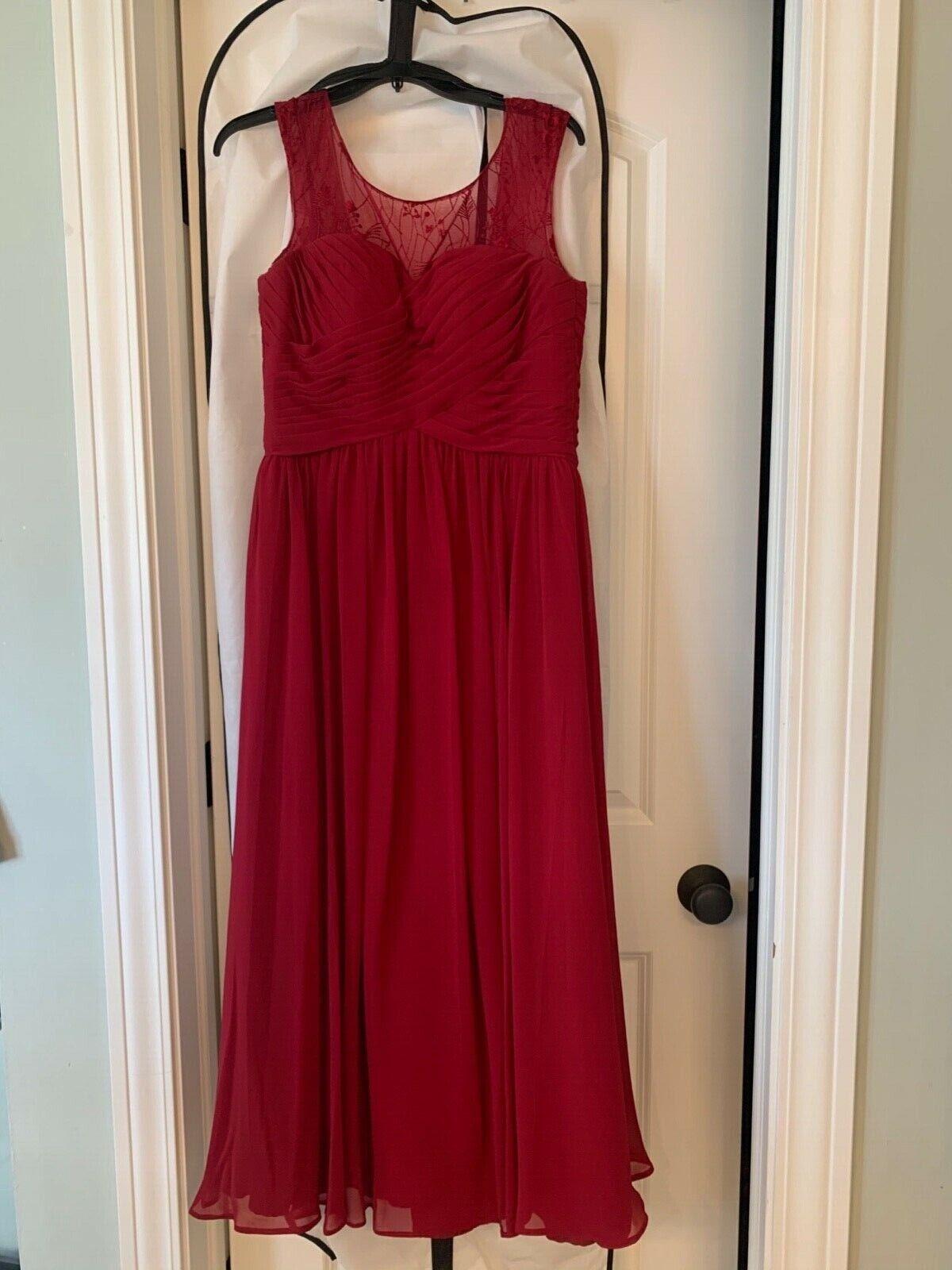 Azazie Tobey Bridesmaids/Maid of Honor Dress - Size A6 - Burgundy - Cap Sleeve