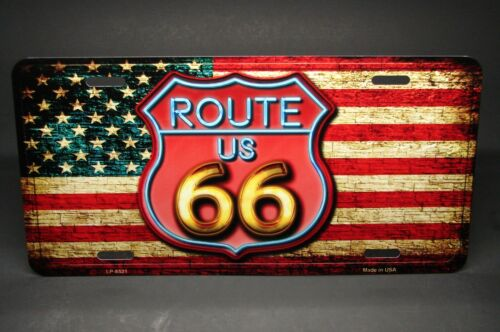 ROUTE 66 AMERICAN FLAG METAL ALUMINUM CAR LICENSE PLATE TAG VINTAGE LOOK