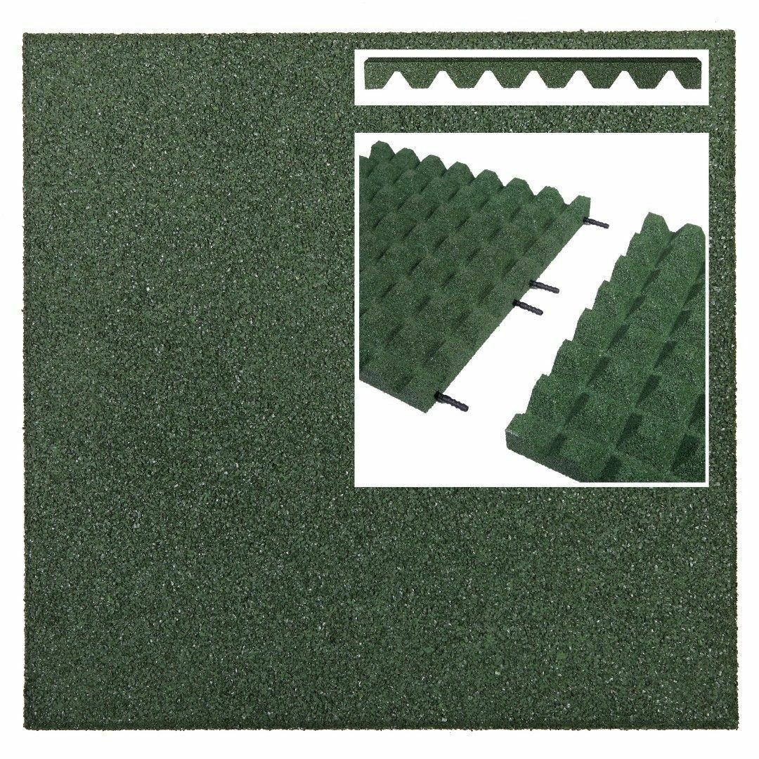 40x Fallschutzmatten 50x50 GRÜN 45 mm + Verbinder Gummimatten Spielplatzmatten