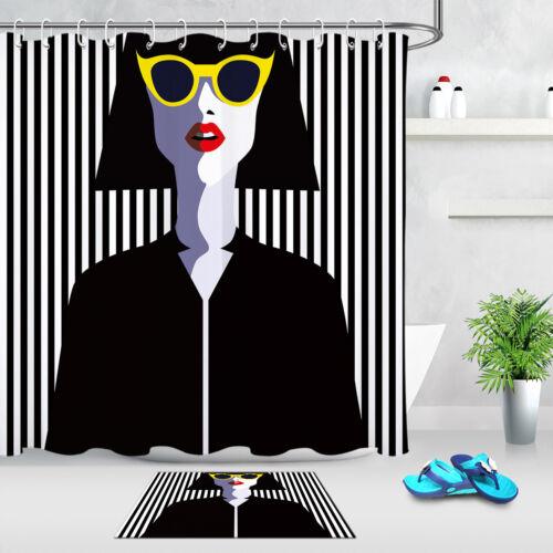 "71//79/"" Fashion Woman Shadow Shower Curtain Fabric Accessory Hooks Bathroom Decor"