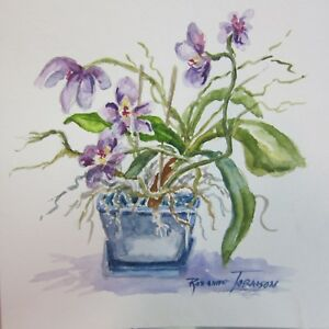 Potted-Orchid-Original-Watercolor-Painting-6-x-6-inches-artist-Roxanne-Tobaison