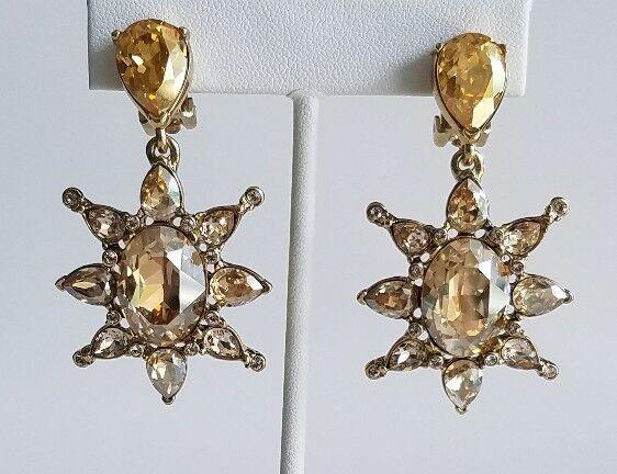 OSCAR DE LA RENTA Tropical Bloom Star Crystal Drop Statement Earrings NEW  395
