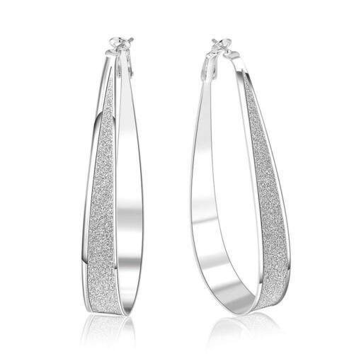 Klassisch Versilbert Scrub Gro Oval Band Earrings GE