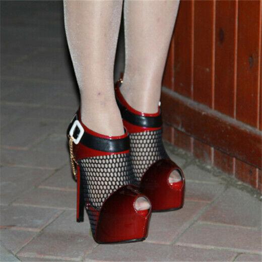 Women High Platform shoes Open Toe Mesh Hollow Strap Strap Strap Sandals Ankle Pump Clubwear 3dc941