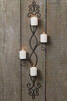 Wand Kerzenleuchter 91cm Eisen Dunkelgrau Wandkerzenhalter Wandleuchter Metall