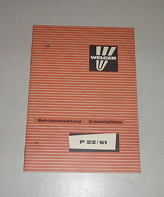 Farming & Agriculture Industrial Precise Operating Instructions/parts Catalog Welger Ballenwerfer P 22/61 Stand 11/1977 Profit Small