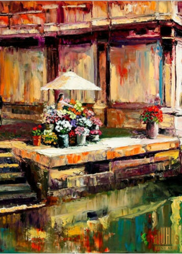 VENICE ITALY CANAL CITY FLOWER STAND Limited Edition ACEO Print Art Yary Dluhos