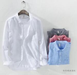 Mens-Work-100-Linen-Long-Sleeve-Boys-Shirts-Dress-Shirts-Tops-Blouse-Outwear
