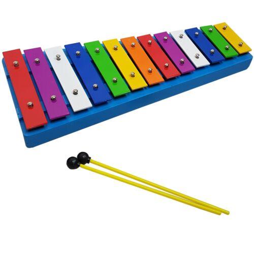 2 SCHÜTTELEIER GRATIS METALLOPHON,Xylophon für Kinder,Schlägel,BUNTE 13 Klänge