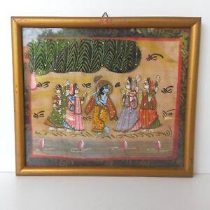 India-Art-Vintage-Painting-On-Fabric-Dancing-Scene-Handmade-16-5x21-cm-Indian