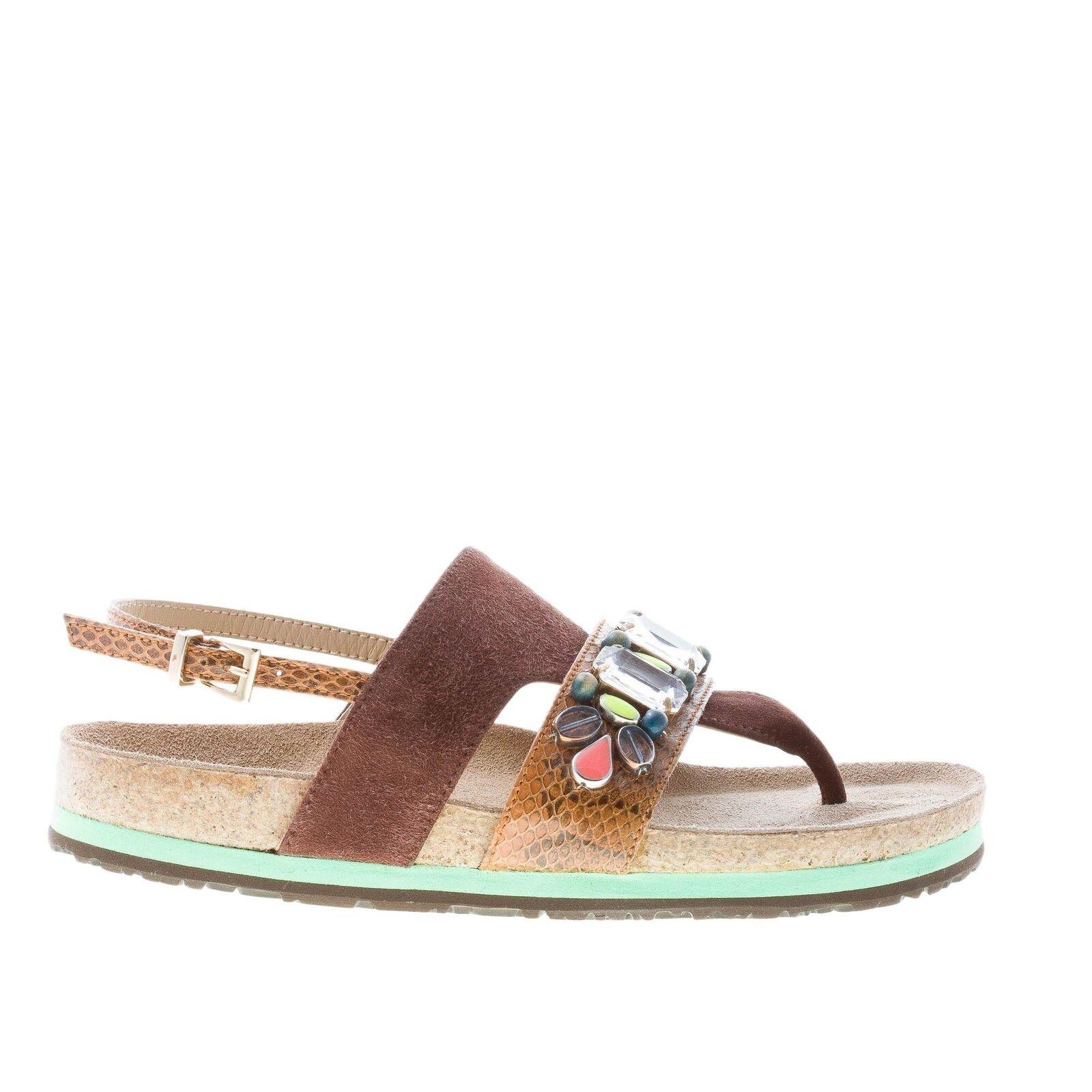 Zapatos de mujer mali'parmi infrabijoux Gamuza Marrón Sandalia de tanga tanga tanga con piedras de Colors  Nuevos productos de artículos novedosos.