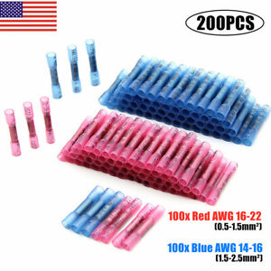 100x Insulated Straight Butt Connectors Electrical Crimp Terminals Wire 5mm
