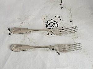 Cutlery Vintage Fiddle Forks x 2 EPNS Gilbert & Spurrier A1