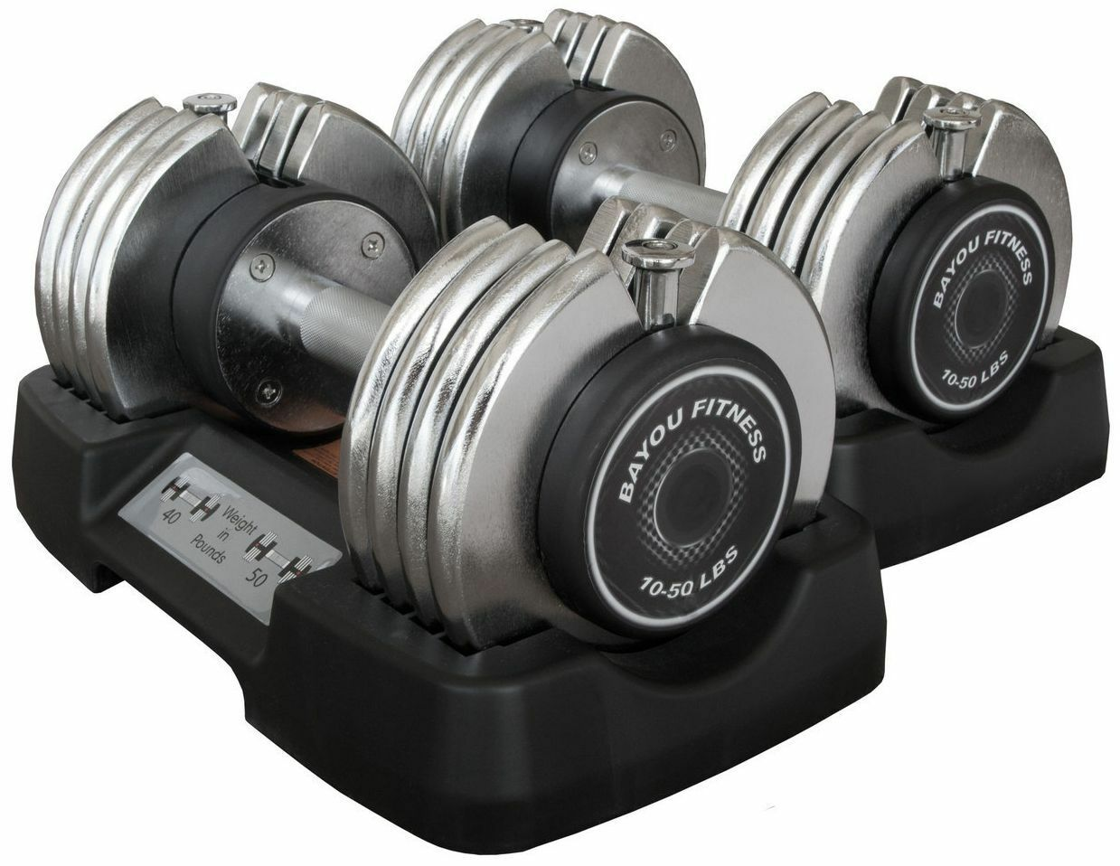 Bayou Fitness 10-50 lb Adjustable Dumbbells Set Pair of  2 Weight Exercise NEW  up to 60% off