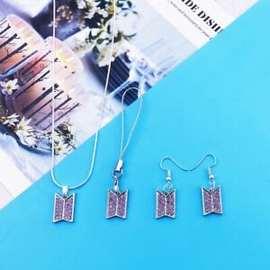 BTS Bangtan Boys Necklace Mobile Chain Earrings Set With Crystal Unisex Jewelry